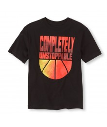 Childrens Place Black Boys Tee/Completely Unstoppable Print