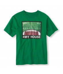 Childrens Place Green Boys Tee/Football Home Print