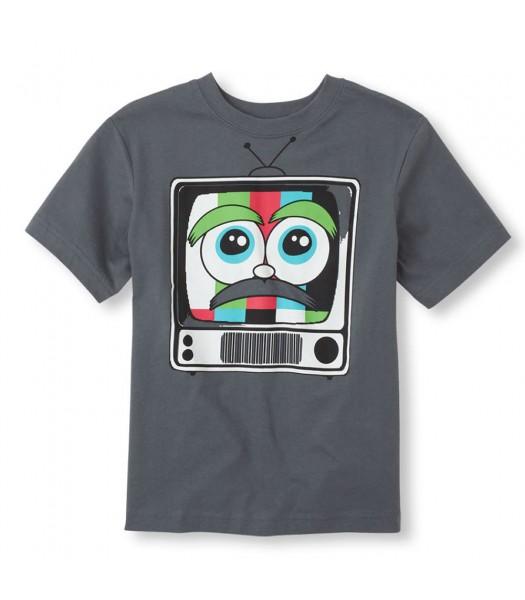 Childrens Place Grey Boys Tee/Retro Tv Print