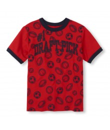 Childrens Place Red Boys Tee/Draft Pick Print