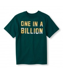Childrens Place Green Boys Tee/One In A Billion Print