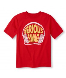 Childrens Place Red Boys Tee/Serious Swag Print Little Boy