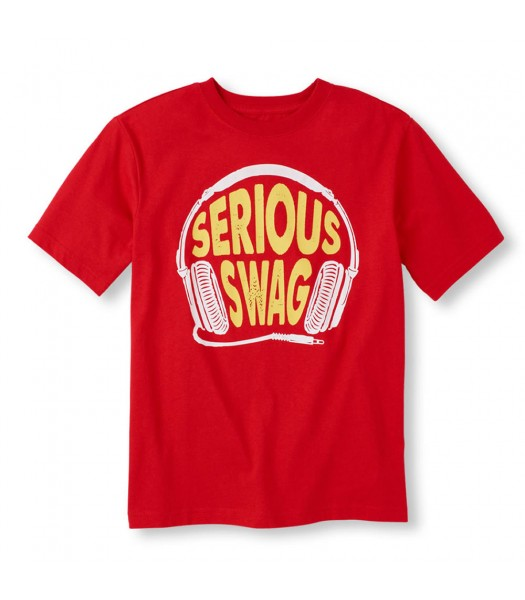 Childrens Place Red Boys Tee/Serious Swag Print
