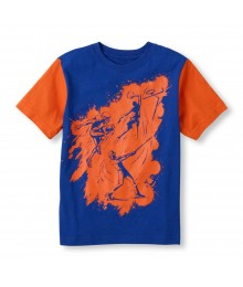 Childrens Place Blue Boys Tee/Basketball,Football N Baseball Print