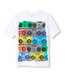 Childrens Place White Boys Tee/Boom Box Print