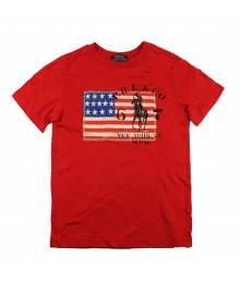 Polo Red Boys Tee Wt Usa Flag Appliq