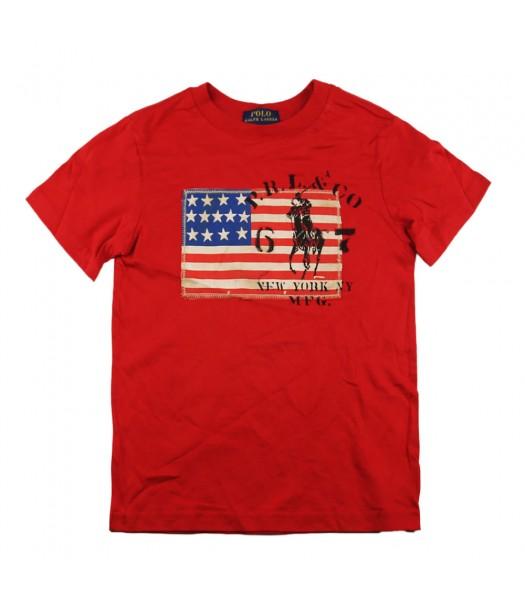 Polo Red Boys Tee Wt Usa Flag Appliq
