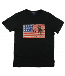 Polo Black Boys Tee Wt Usa Flag Appliq