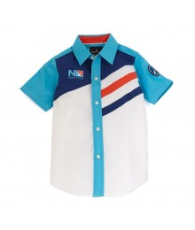 Nautica White/Turq/Navy/Orange Color Block S/Sleeve Shirt  Little Boy