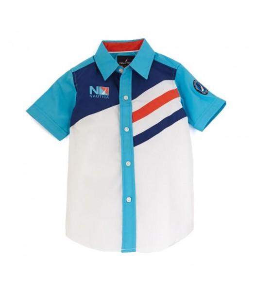 Nautica White/Turq/Navy/Orange Color Block S/Sleeve Shirt