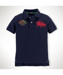 Polo Navy Boys Dual Pony Wt Crest