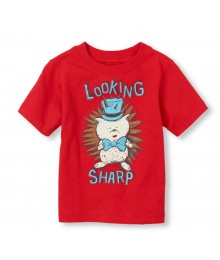 Childrens Place Red Boys Tee Wt Looking Sharp Print