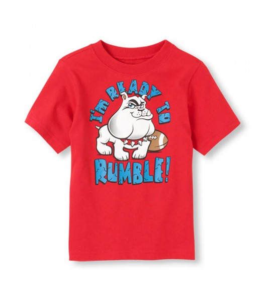 Childrens Place Red Boys Tee Wt Ready To Rumble Print