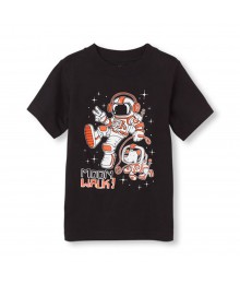 Childrens Place Black Boys Tee Wt Space Man Print