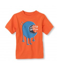 Childrens Place Orange Boys Tee Wt Monster Tantrum Print