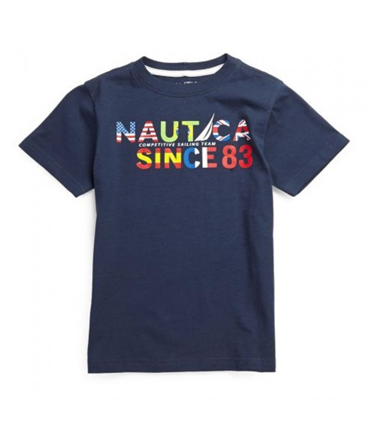 Nautica Navy Boys Tee Wt Multi Colo Nautica Print Little Boy