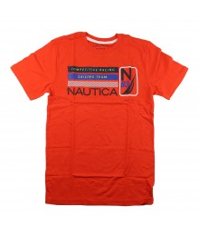 Nautica Red Boys Tee Wt Competitive Racing Print