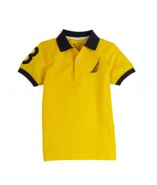 "Nautica Yellow Boys Polo Shirt Wt Navy Collar /""3"" Print On Sleeve"