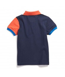 Nautica Orange/White/Blue Color Block Boys Polo Shirt