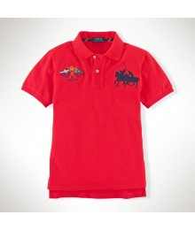 Polo Red Dual Cotton Polo Wt Crest