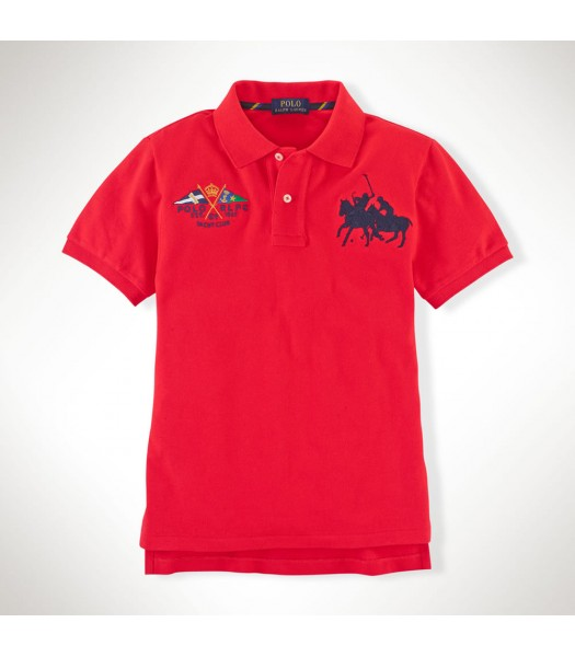 Polo Red Dual Cotton Polo Wt Crest Little Boy