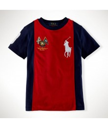 Polo Red Boys Tee Wt Navy Side Panel Little Boy