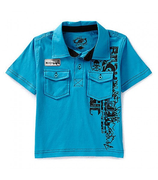 First Wave Turquoise Graphic Polo Tee Little Boy
