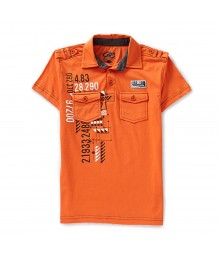 First Wave Orange Graphic Polo Tee Little Boy