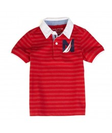 Nautica Red Boys Polo With White Collar Little Boy