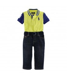 Ralph Lauren Neon Yellow Polo & Dark Wash Jeans With Belt