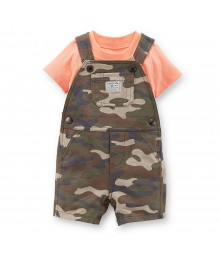 Carters 2pcs Green Camo Shortall Wt Orange Tee