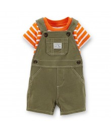 Carters 2pcs Olive Shortall Wt Orange/Whtie Striped Tee Baby Boy