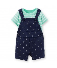 Carters 2pcs Navy Shortall Wt Green/Whtie Striped Tee