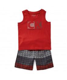 Calvin Klein 2pcs Red Sleevless Top Wt Black Shorts