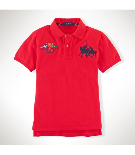 Polo Red Wt Crest And Dual Pony Polo Tee