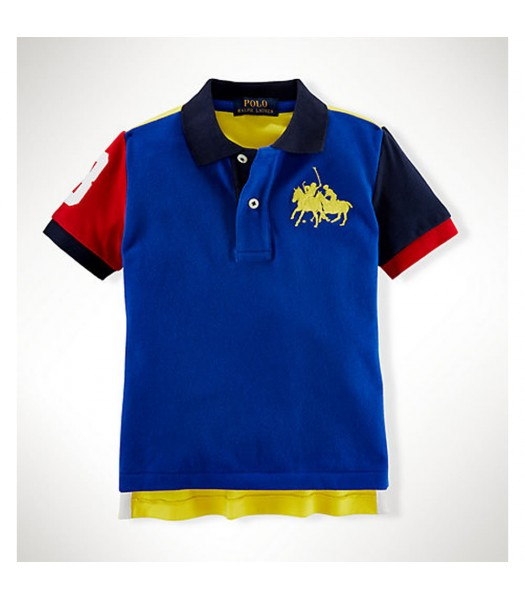 Polo Blue/Yellow/Red Color Block Wt Dual Pony