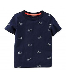 Carters Navy Tees Wt Ship Print