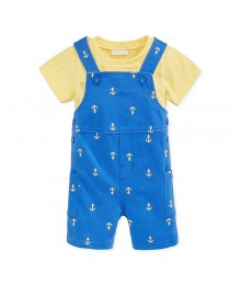 First Impressions Yellow Tee Wt Blue Shortalls Wt Anchor Print