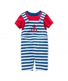First Impressions Red Tee Wt Stripped Navy Shortalls Wt Anchor Embrdy