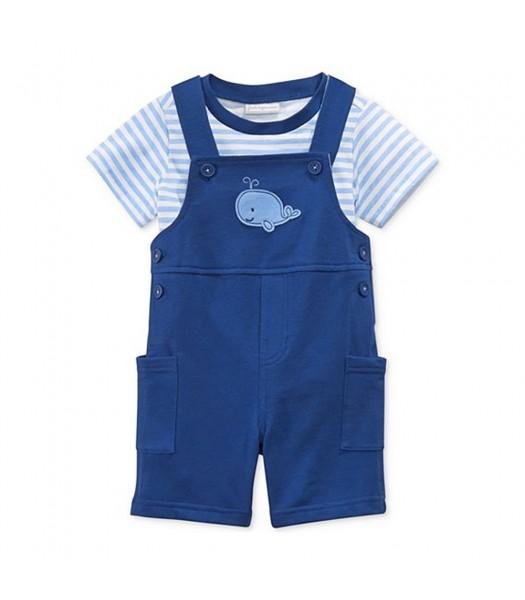 First Impressions Blue Tee N Navy Shortalls Wt Whale Appliq