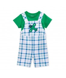 First Impressions Bwhite Wt Blue/Green Plaid Shortalls N Green Tee