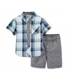 First Impressions Green/Grey Multi Plaid Shirts Wt Grey Shorts