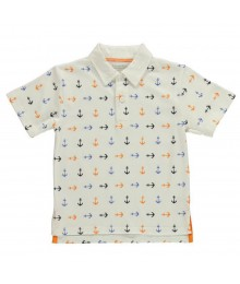 Kitestrings White Polo Tee Wt Multi Anchor Allover Print
