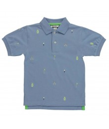 Kitestrings Blue Polo Pique Tee Wt Golf Embroidery Allove