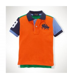 Polo Orange/Blue/Green Color Block Wt Dual Pony