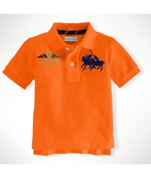 Polo Orange Wt Crest And Dual Pony Polo Tee