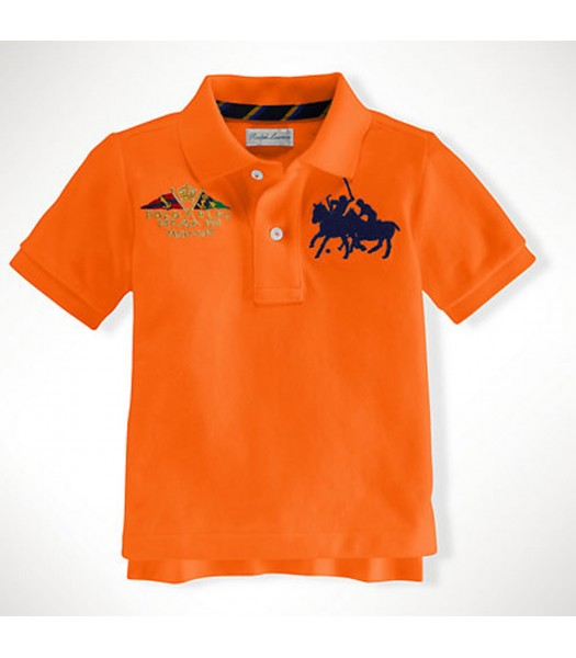 Polo Orange Wt Crest And Dual Pony Polo Tee