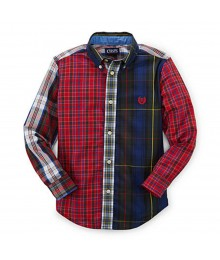 Chaps Multi Plaid Bulton Down L/Sleeve Shirt Little Boy