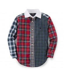 Polo Red Multi Plaid Blake Patchwork L/Sleeve Shirt