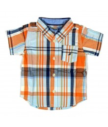Nautica Boys Orange Plaid Spencer Shirt